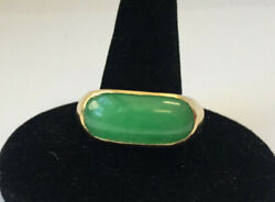 Vintage 14 Kt Yellow Gold Deep Green A Jade Ring / 6-1/4.