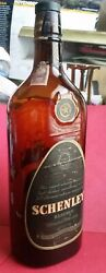 1942 Schenley Reserve Blended Whiskey Quart Bottle Brown Glass With Cork-empty