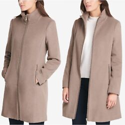 Dkny Taupe Wool And Cashmere Blend Stand Collar Zipper Closure Walking Coat Sz 4