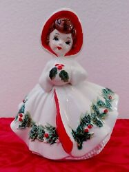 Vintage 1960's Relpo Christmas Holly Girl Planter 6024 Mint Condition