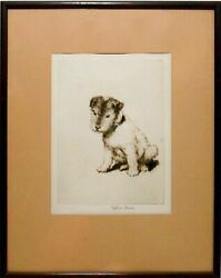RARE ESTHER M DAVIS (AMERICAN 1893-1974) SIGNED NORFOLK TERRIER ETCHING FRAMED