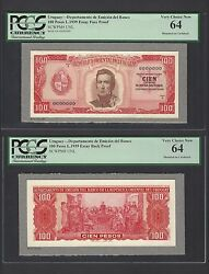 Uruguay 100 Pesos L1939 Pick Unlisted Face And Back Essay Proof Uncirculated