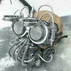 STEAMPUNK 'BANE' Mask Goggles Set- Distressed Silver Tubes Coils Gears