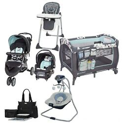 Boy Stroller With Car Seat Blue Combo Set Playard Swing Chair Bag Travel System