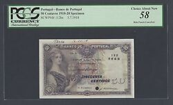 Portugal 50 Centavos 5-7-1918 P112bs Specimen About Uncirculated