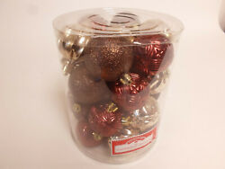 Set Of 26 Gold Red Shatterproof 2.25 Christmas Tree Bulb Ornament Hanging Ball