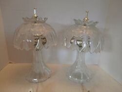 Vintage Cut Crystal Table Lamps With Crystal Shade At Matching Pair Mid20century