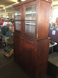 Huge Primitive Awesome Pine Hutch Beautiful Very Old