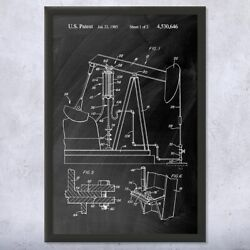 Framed Oil Well Pump Jack Wall Art Print Energy Contractor Roughneck Gift