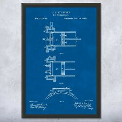 Framed Air Compressor Wall Art Print Mechanical Engineer Contractor Gifts