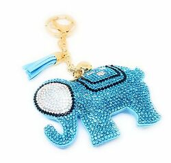 Elephant Good Luck Crystal Rhinestone Keychain Purse Charm Ring Tassel Lt. Blue