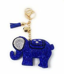 Elephant Good Luck Crystal Rhinestone Keychain Purse Charm Ring Tassel Dark Blue