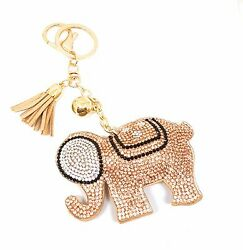 Elephant Good Luck Crystal Rhinestone Keychain Purse Charm Ring Tassel Gold