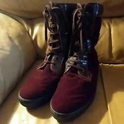 Designer Tod's Ankle Boots Size 8M Leather Suede EUC Burgandy Brown $75.00