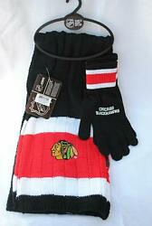 Chicago Blackhawks Scarf With Matching Gloves Gift Set Nhl Licensed Nwt
