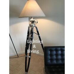 Restoration Hardware Lighting Tripod Big Floor Lamp Wooden Stand Without Shade