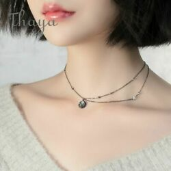 Star Planet Space Milky Way 100% s925 Silver Pendant Necklace Galaxy Crystal