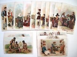Set Of 16 1894 Victorian Trade Cards Singer Sewing Machine Many Countries