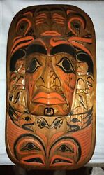 Large Chief's Mask By Stan Joseph Squamish Nation 800 Yr Old Cedar 23in. X 13in.