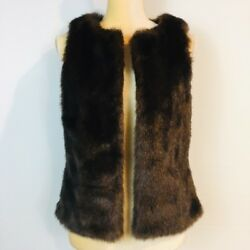 Worthington Women S Faux Mink Fur Vest Brown Open Front Sleeveless Holiday Party