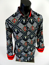 Mens Casual Shirt Black White Designer Floral Print Silky Stretch Button Up