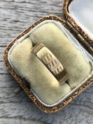 Antique 18ct Yellow Gold Wiggle Line Unusual Wide Band Ring