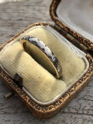 Antique 18ct Yellow Gold Applied Platinum Wiggle Line Unusual Wide Band Ring