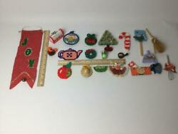 Vintage Hand Made Holiday Refrigerator Magnet Mixed Lot Of 20 Felt Kitchen