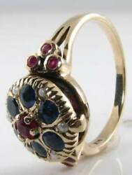 English 9k 9ct Gold Indian Ruby Sapphire Pearl Poison Locket Art Deco Ins Ring