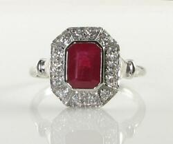 Class 9k 9ct White Gold 1.20 Cwt Ruby Diamond Art Deco Ins Ring Free Resize