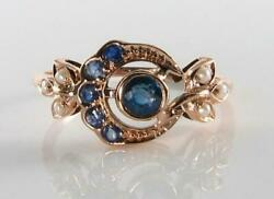 Divine 9k 9ct Rose Gold Blue Sapphire And Pearl Sun Moon Crest Art Deco Ins Ring