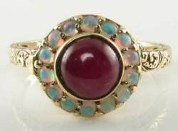 9k 9ct Gold Indian Ruby And Aus Opal Poison Locket Art Deco Ins Ring Free Resize