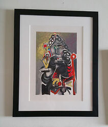Pablo Picasso The Smoker 1968 Lithograph Printed By Mourlot Framed