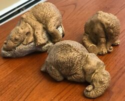 3 Martha Carey The Herd Winks Elephant Sculptures Signed Numbered - Some Damage