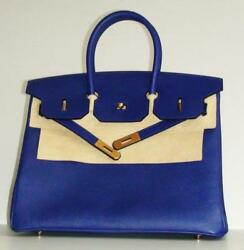 Hermes Birkin 35 Electric Blue Gold  Brand new Store Fresh
