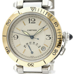 Pre-Loved Cartier Stainless Steel and 18K Yellow Gold Pasha Automatic W31012H3