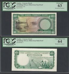 Gambia Face And Back 10 Shillings Ndca.1960 Pick Unlisted Essay Proof Unc