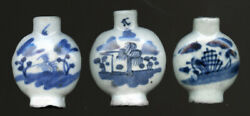 Three Vintage 19th Century Chinese Blue And White Porcelain Medicine Bottles