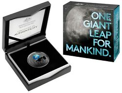 2019 5 50th Anniversary Lunar Landing Nickel Plated 1oz Silver Proof Domed Coin
