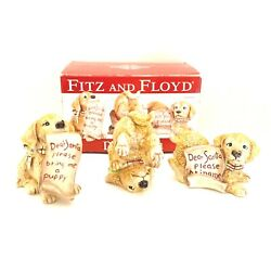 Fitz And Floyd Dear Santa Christmas Puppy Figurines Tumblers Set Of 3 Holiday