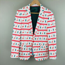 NWT Mens SUSLO COUTURE Christmas deer Blazer Slim Ft Jacket Size small 38