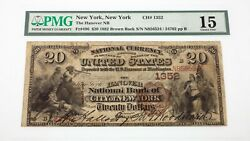 1882 Brown Back 20 National Currency Note Fr 496 Hanover Nb Ch 1352 Fine 15