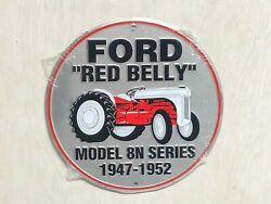 Ford Red Belly Model 8n Series 12 Round Metal Sign Automotive Tractor Gas Oil