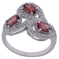 Solid 925 Sterling Silver Garnet Cubic Zirconia 3-stone Ring Jewelry R1968-2