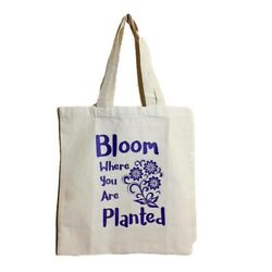 Canvas Shoulder Bag Tote Shopping Grocery Gift Bag Bloom where Your Are Planted