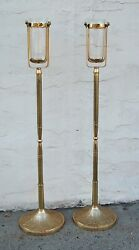Pair 48 Brass Processional Candlesticks Torch / Acolyte And Base Stand 311/91