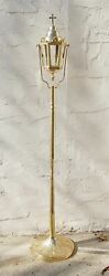 Church Processional Candle Torch Lantern Brass 57 And Base Stand 130/91