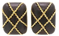 Seaman Schepps 18 Kt Twisted Rope Gold And Rose Wood Ear Clips Exceptional