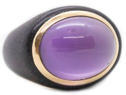 Rose Wood And 18 Kt Yellow Gold Ring With A 18.32 Cts Lavender Jade Quartz Nice