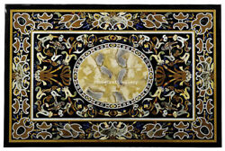 48 X 36 Black Marble Dining Table Top Art Semi Mosaic Inlay Living Home Decor